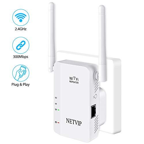 NETVIP Repetidor WiFi,Amplificador WiFi Extensor 300Mbps/2.4GHz Repetidor Red WiFi,con Puerto Ethernet,Fácil de configurar Compatible con Enrutador Inalámbrico(2 Modos, 2 Antenas, Puerto LAN/WAN)
