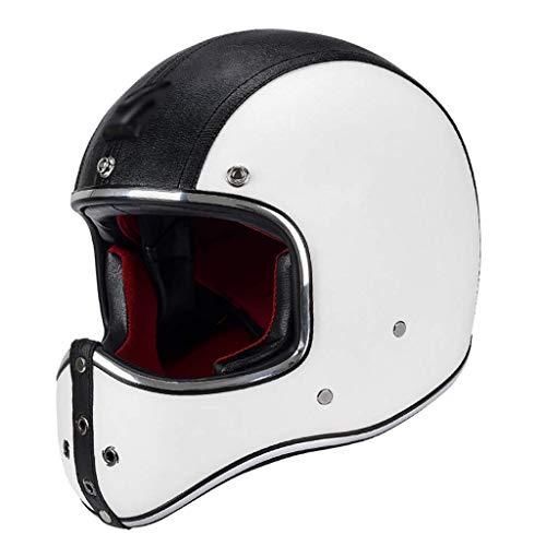 ZHEN Casco Integral para Motocicleta, Motociclista, Scooter, Touring, Cuero para Motocicleta, Casco de Cara Abierta Vintage para ATV, ciclomotor, ciclomotor, Motociclista, Aventura, Crucero, apro