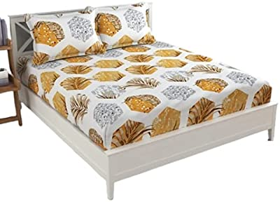 Om Fashion , Bed Pure Cotton bedsheets (Gold, Small Single)