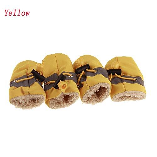JIUYUE 7 Maten Anti-slip Schoenen voor Honden 4 Stks/Set Warm Hond Laarzen Cashmere Hond Regenschoenen Puppy Sneakers Huisdier benodigdheden, 7, Geel