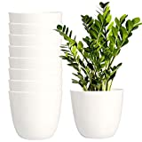 Youngever 8 Pack 5.5 Inch Plastic Planters Indoor Flower Plant Pots, Modern Decorative Gardening Pot with Drainage for All House Plants, Flowers, Herbs, Succulents and Hanging Plants (White)