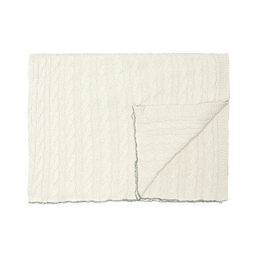 Cala Living Manta de Ochos con Enmallado Perimetral, Algodón, Blanco y Verde, Individual, 200x140x3 cm