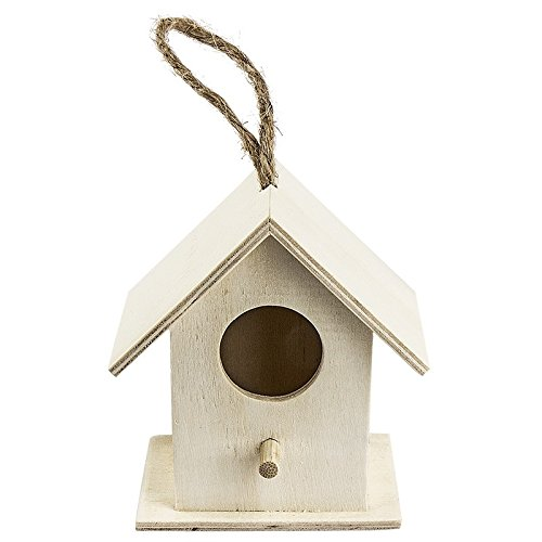 Vogelhäuschen Holz, Design 1, 8,3x7,5x5,3 cm, mit Aufhängung | Frühlingsdeko für Haus und Garten | DIY, Heimwerken, Basteln