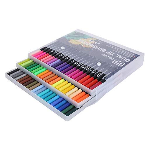 Talany Rotuladores De Pincel De Acuarela, Estuche De Almacenamiento para Marcadores De Pintura Sin Ensuciar para Colorear Caligrafía Y Dibujar(Color STHG-60)