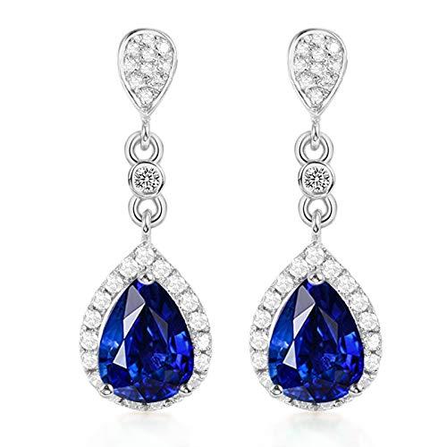 Beydodo Pendiente de Mujer Plata Azul,Pendientes de Oro Blanco 18 Kilates Gota de Agua con Diamante Zafiro Azul 2ct