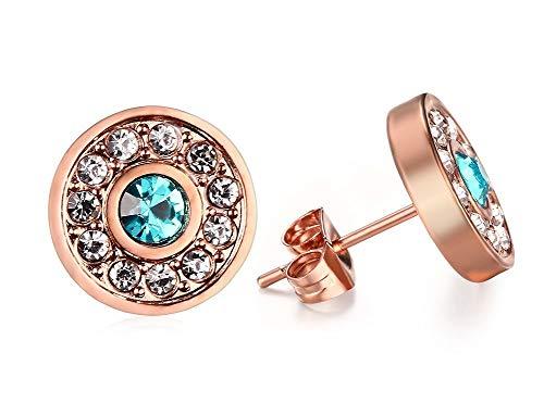 HAMANY Aretes Redondos de Acero Inoxidable para Mujer con Diamantes de imitación Azul Claro en el Centro con baño de Oro Rosa