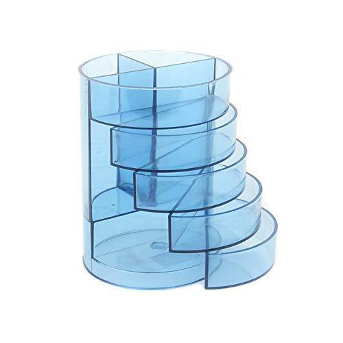 ほうねん堂 ペン立て アクリル 透明 卓上 円筒形 ペンスタンド 引きだし 付き 5段 整理ボックス 小物 収納ケース