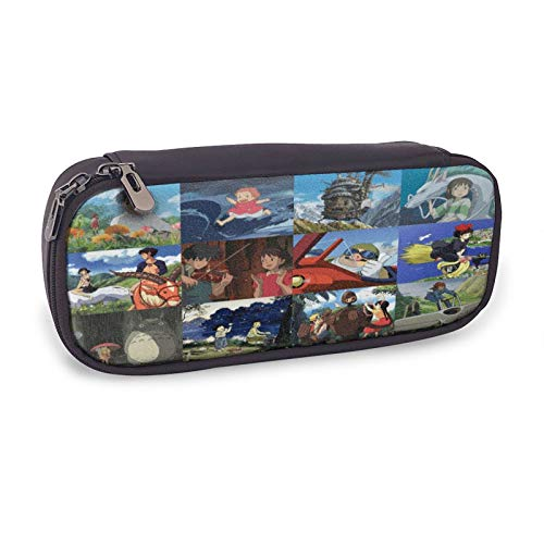 Anime Poster Figure Ghibli Miyazaki Spirited Away Totoro Ponyo Pencil Case Zipper PU Leather Stationary Wallet Cosmetic Bag Pencil Box School Office Pencil Bag For Kids Adult Pencil Holders Coin Purse