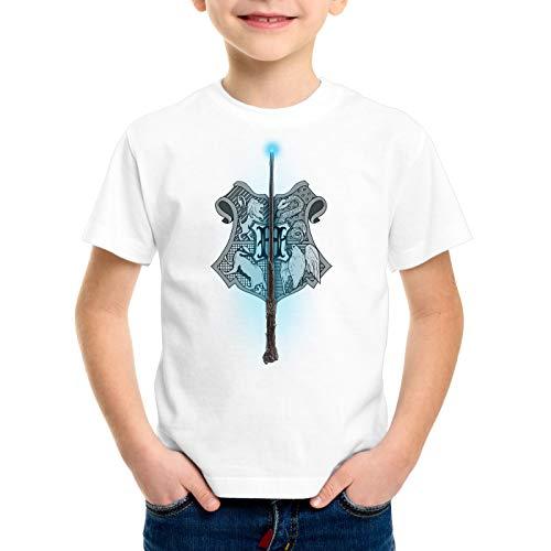CottonCloud Wappen Zauberschule T-Shirt für Kinder Potter Magic Harry Quidditch, Farbe:Weiß, Größe:152