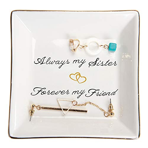 HOME SMILE Sister Birthday Gifts Trinket Dish -Always My Sister,Forover My Friend,Gifts for Sisters Bestie BFF Her