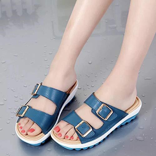 WTFYSYN Zapatillas de baño Unisex,Zapatillas de cuña con Fondo Grueso Antideslizante, Sandalias de Playa para Estudiantes-Blue_38