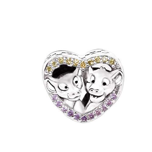 Desconocido JCaleydo – Simba e Nala Re Leone in argento Sterling 925 con scatola regalo, compatibile con bracciale Pandora