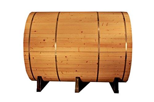 SymbolicSpas Large 8' Foot Canadian Redwood Cedar Wet/Dry Traditional Barrel Sauna SPA