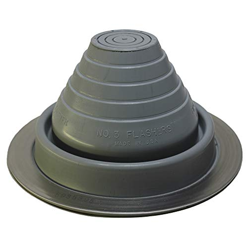 """Flashers #3 Grey EPDM Flexible Roof Jack Pipe Boot Metal Roofing Pipe Flashing (Pipe OD 1/4"""" to 5"""") - 100% Made in The USA"""