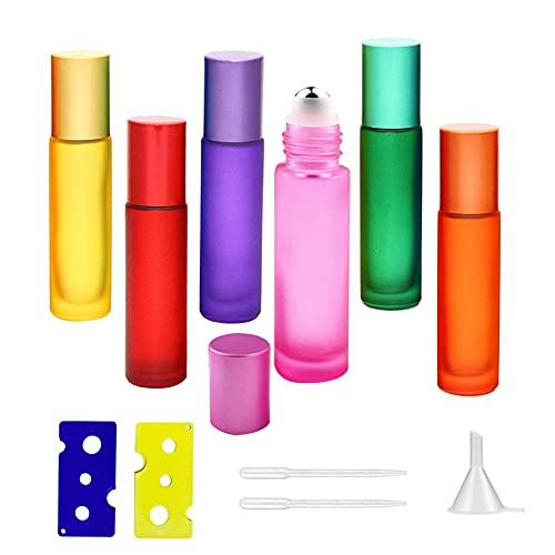 6 Stück Ätherische Öle Roller Flaschen,Glasflaschen Glasroller,Glas Roll-On Flaschen,Roll On Glasflasche,Glasflaschen für ätherische Öle,Glas Roll Flaschen,Ätherische Öle Roller,Roller Flaschen