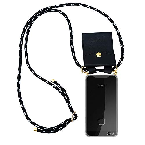 Cadorabo Handy Kette für Huawei P10 LITE in SCHWARZ Silber – Silikon Necklace Umhänge Hülle mit Gold Ringen, Kordel Band Schnur und abnehmbarem Etui – Schutzhülle