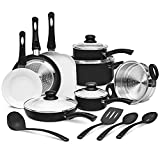 Ivation Ceramic Cookware | 16-Piece Nonstick Cookware Set with...