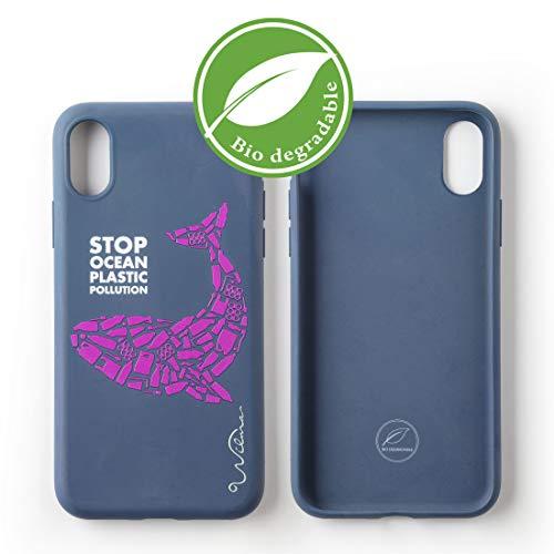 Custodia per Telefono Wilma Biodegradabile Ecologica Compatibile con iPhone X/XS Ferma l'Inquinamento degli Oceani dalla Plastica, Senza Plastica, Atossica, Completamente Protettiva - Balena