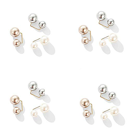 12 Pcs Fashion Simulated Pearl Anti-Glare Brooch, Sweater Shawl Clip Double Faux Pearl Brooches Safety Pins Scarf Buckle Pearl Brooch for Women Girls Coat Ornament (Multi)