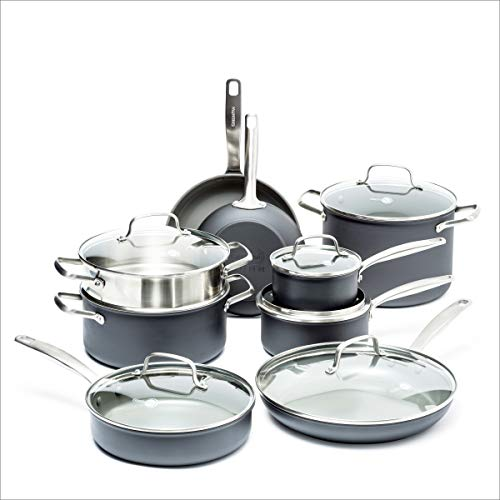 GreenPan CC002283-001 Chatham Cookware Set, 15pc, Grey