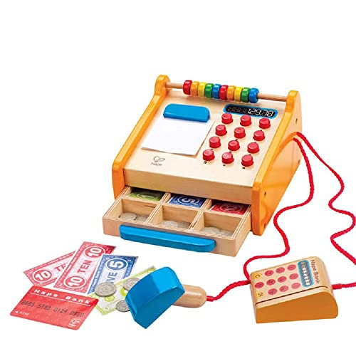 Hape Hape Caja Registradora, Caja Registradora de Juguete de 37 Piezas de Madera para Niños y Niñas, Con Calculadora