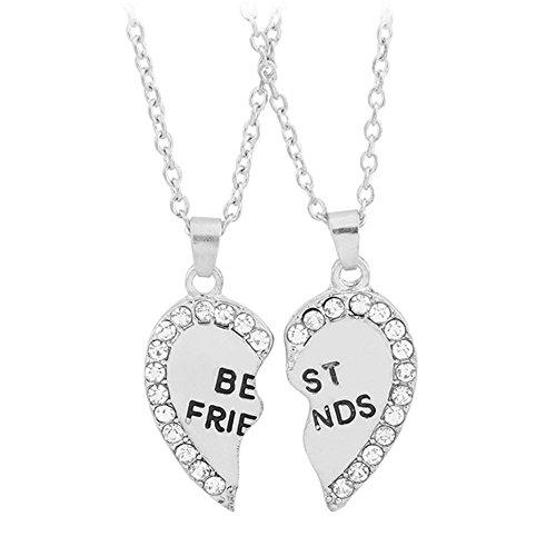 Ruikey Charm Unique BEST FRIENDS Pendant Necklace Zirconia Love Heart Necklace Pendant for Friendship Two Piece Set