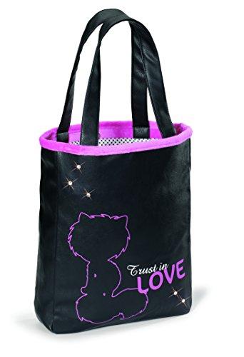 Nici 38122 - Handtasche Shopper Love, 29 x 37 x 7 cm, schwarz/pink