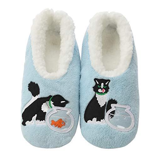Snoozies Pairables Womens Slippers - House Slippers - Blue Cat - Large