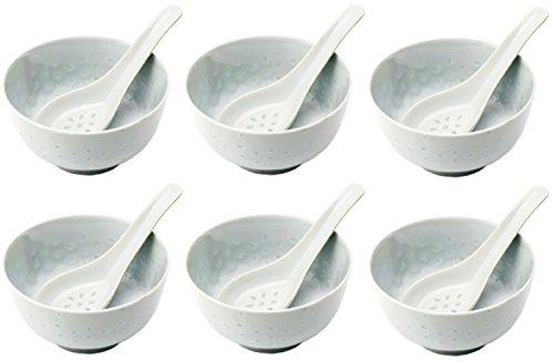 bick.shop Reisschüssel + Löffel Porzellan Schale Chinaporzellan Reiskorn Reisschale Asia (6X)