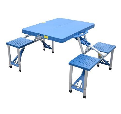 homcom Outsunny - Tavolo da Campeggio Picnic in Alluminio con 4 Sedie Richiudibile a Valigetta Azzurro