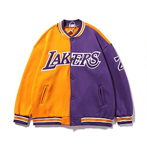 YPKL Chaqueta de Kobe Bryant, Los Ángeles Lakers 24# Black Mamba Neutro de Manga Larga de la Chaqueta de Collar de pie, Baloncesto Retro Swingman Jersey (M-XXL) L