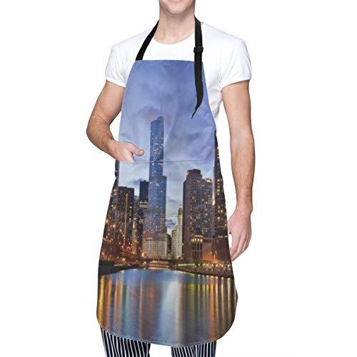 COFEIYISI Delantal de Cocina Paisajes urbanos urbanos contemporáneos Americana Chicago Riverside Bridge Scene Modern USA Boho City Delantal Chefs Cocina para Cocinar/Hornear