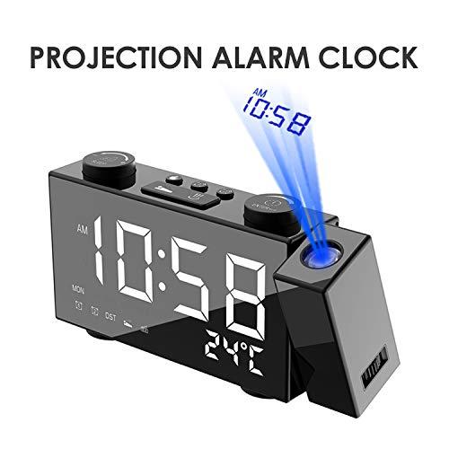 Vapechaser - Reloj despertador de proyección LED de alta definición de 6 pulgadas, reloj digital de alta definición, radio FM, proyector temporizador de sueño, carga USB