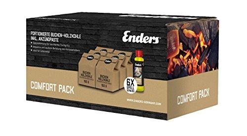 Enders® 6 x 150g portionierte Buchen-Holzkohle und Anzündpaste 200 ml, Anzünder, Brennpaste Grillkohle für raucharmes grillen Comfort Pack 1397 für AURORA rauchfreier Tischgrill, Braun