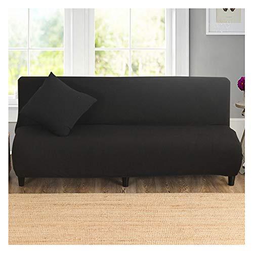 ABBD Funda de sofá Cama elástica sin Brazos Lavable, Protector de Muebles de poliéster, Fundas de Funda de Silla de sofá de Tejido de Color sólido Weave para niños, Perros, Mascotas-Black