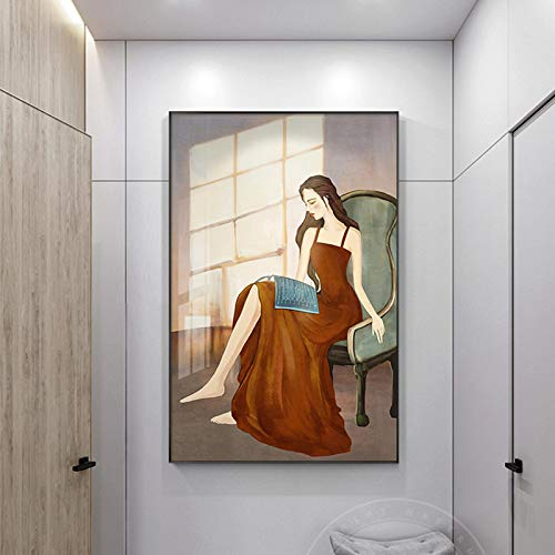 Gymqian Vestido Amarillo Moderno para niñas Pintura en Lienzo Creativa Carteles e Impresiones Figura Arte Retro Imagen de Pared para Dormitorio Decoración para el hogar Mural-70x100cm Sin Marco
