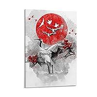 鶴 キャンバスポスター寝室の装飾スポーツ風景オフィスルームの装飾ギフト,キャンバスポスター壁アートの装飾リビングルームの寝室の装飾のための絵画の印刷 24x36inch(60x90cm)