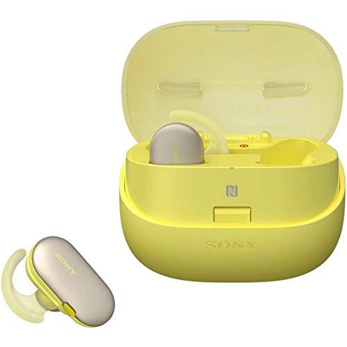 ソニー完全ワイヤレスイヤホンWF-SP900:Bluetooth対応左右分離型防水仕様4GBメモリ内蔵2018年モデル/マイク付き/イエロー
