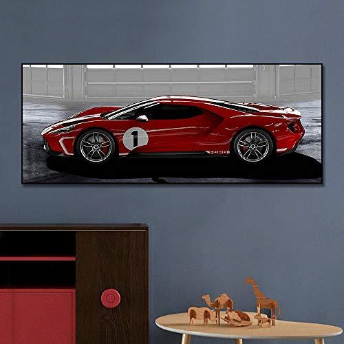 VVSUN Rojo Famoso Coche Deportivo Cartel Lienzo Pintura impresión nórdica Cuadro de Arte de Pared para Sala de Estar decoración del hogar 60x150cm 24x60 Pulgadas sin Marco