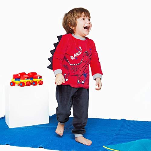Petit Béguin - Pyjama garçon manches longues rouge Dino boy - Taille - 3 ans