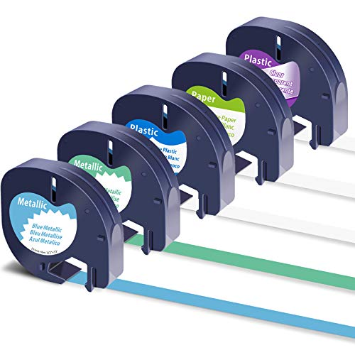 Colorty Replacement for DYMO LetraTag Refills 91330 91331 16952 91338B 91339 Black on White Clear Metallic Blue Green Tape for Letra Tag Label Maker LT-100H LT-100T QX50, 12mm x 4m 1/2'' x 13', 5-Pack