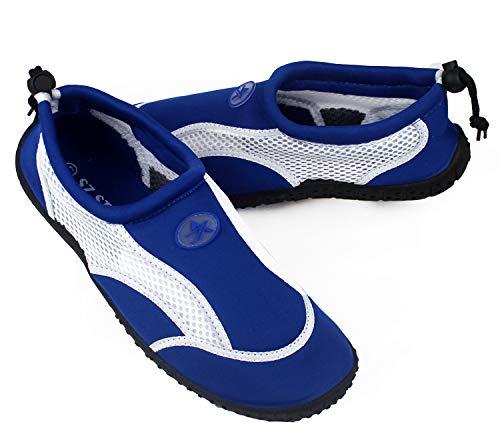 Zapatos de Agua, Zapatillas para Buceo Snorkel Surf Piscina Playa Vela Mar Río Aqua Cycling Deportes Acuáticos, Calzado de Natación Escarpines para Hombre Mujer Unisex (Azul, Numeric_44)