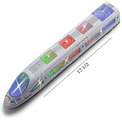 SILLYME Bump and Go High Speed Bullet Train Toy - 3D Lighting and Musical Fun Sounds - Toy for Kids Birthday Gift - 38 cm