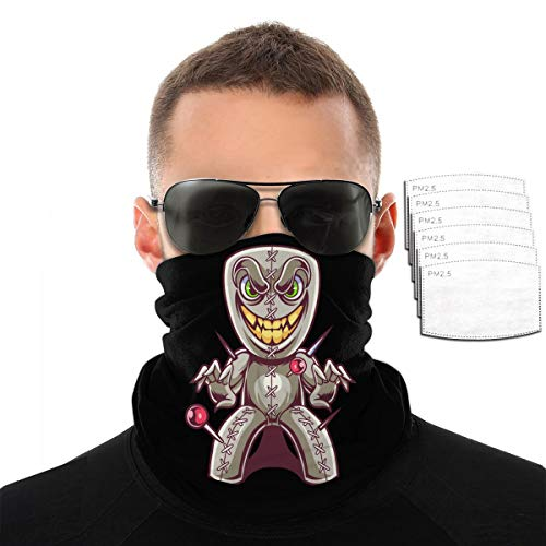 ZZFENG Voodoo Doll Mascot Neck Gaiter Mouth Cover Bandana with 6activated Carbon Filters Piece