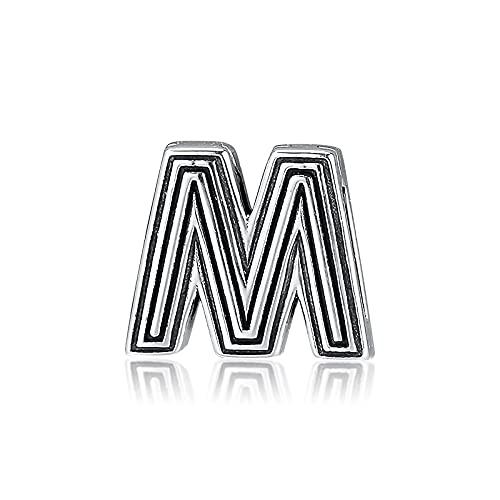 LIIHVYI Pandora Charms para Mujeres Cuentas Plata De Ley 925 Letra M Clip Joyería De Bricolaje Compatible con Pulseras Europeos Collars