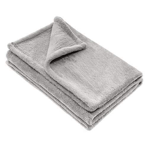Jacky Kuscheldecke Babydecke, Fleece - Baby Decke Unisex - Krabbeldecke 75 x 100 cm - Öko-Tex schadstoffgeprüft, allergikergeeignet - Grau