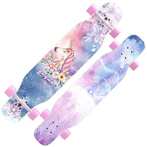 DUWEN-Skateboard Anfänger Ahorn Longboard Erwachsene Jungen und Mädchen Professionelle Pinsel Street Dance Board Teen Vierräder (Farbe : D)
