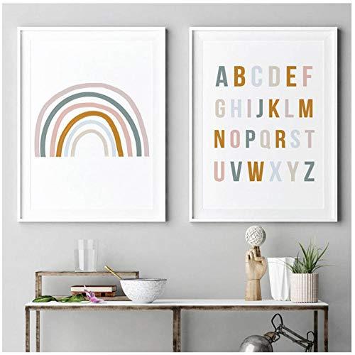 xwwnzdq Regenbogen Kinderzimmer Dekor Alphabet Poster Wandkunst Leinwand Malerei Pop Print Bilder Baby Mädchen Geschenk Kinderzimmer Wohnkultur 40x60cmx2 Kein Rahmen