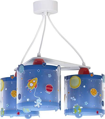 Dalber Lámpara infantil de techo 3 Luces Planets Planetas Azul, 60 W