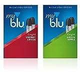 2 x Doppelset Liquids Geschmack Cherry Crush und Green Apple - Ohne Nikotin - mit eingebautem Verdampfer für Elektronische Zigarette Myblu + Gratis LK-Trend & Style Hygieneschlüssel